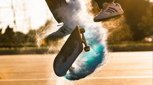 Превью обои скейт, скейтборд, облако, прыжок, трюк
