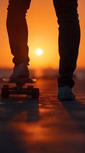 Превью обои скейтборд, ноги, закат, свет