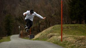 Превью обои скейтбордист, скейтборд, скейт, трюк, прыжок