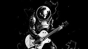 Превью обои скелет, гитара, чб, гитарист, скафандр, арт