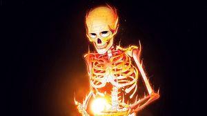 Превью обои скелет, кости, огонь, арт