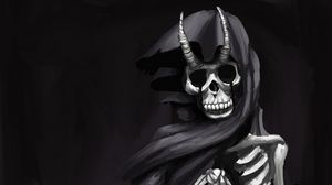 Превью обои призрак, скелет, рога, плащ, арт, черно-белый, черный