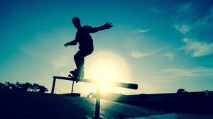Превью обои скейт, доска, спортсмен, перила, движение, силуэт, каток