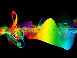Превью обои скрипичный ключ, ноты, разноцветный, радужный