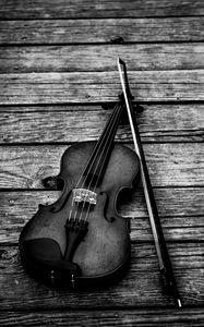 Превью обои скрипка, чб, смычок, музыкальный инструмент