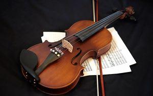 Превью обои скрипка, музыкальный инструмент, ноты, музыка