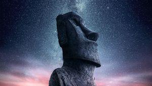 Превью обои моаи, статуя, идол, стров пасхи, звездное небо