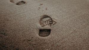 Превью обои следы, песок, пляж, побережье