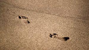 Превью обои следы, пляж, побережье, песок, море