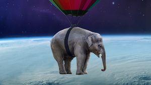 Превью обои слон, воздушный шар, аэростат, космос, невесомость