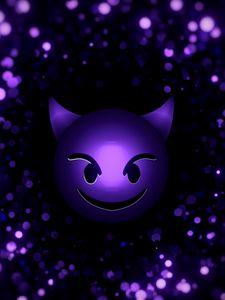 Превью обои смайл, смайлик, дьявол, частицы, фиолетовый