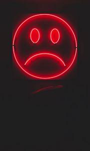 Превью обои смайл, смайлик, грустный, неон, красный, темный