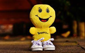 Превью обои смайлик, счастье, игрушка, улыбка