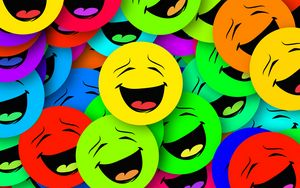 Превью обои смайлы, улыбки, разноцветный, эмоции