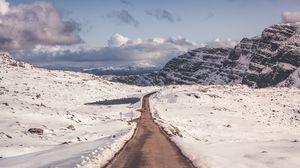 Превью обои снег, горы, дорога, поворот