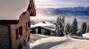 Превью обои снег, горы, зима, пейзаж
