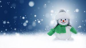 Превью обои снеговик, игрушка, новый год, рождество, блики, боке