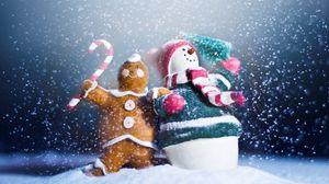 Превью обои снеговик, конфеты, печенье, праздник