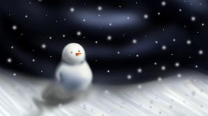 Превью обои снеговик, метель, снег, ночь