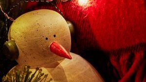 Превью обои снеговик, наушники, гирлянды, рождество, новый год, праздник