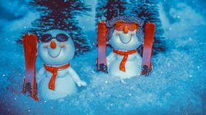 Превью обои снеговик, новый год, рождество, снег, статуэтка, игрушка
