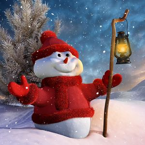 Превью обои снеговик, посох, фонарь, 3d графика, зима, снег, горы, ёлка