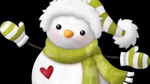 Превью обои снеговик, шапка, шарф, сердце
