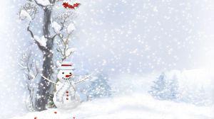 Превью обои снеговик, шарфик, пуговицы, дерево, ягоды, ёлки, снегопад