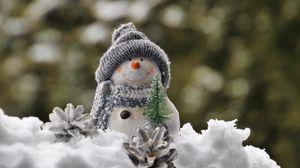 Превью обои снеговик, снег, статуэтка, игрушка, новый год, рождество