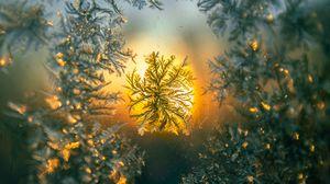Превью обои снежинка, макро, узор, стекло