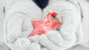 Превью обои снежинка, руки, перчатки, зима