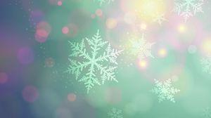 Превью обои снежинки, фон, светлый, пятна