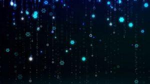 Превью обои снежинки, узор, цифровой, падение, светящийся, праздничный