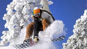 Превью обои сноуборд, экстрим, костюм, девушка, трюк, снег