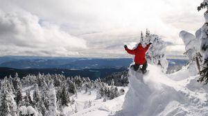 Превью обои сноуборд, экстрим, зима, спуск