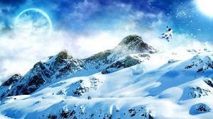 Превью обои сноуборд, снег, горы