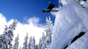 Превью обои сноуборд, спорт, снег, прыжок
