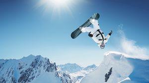 Превью обои сноуборд, трюк, прыжок, горы, экстрим