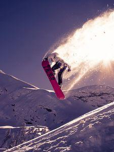 Превью обои сноуборд, трюк, прыжок, снег