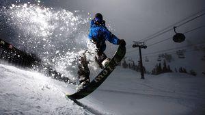Превью обои сноуборд, вечер, снег, свет, трюк