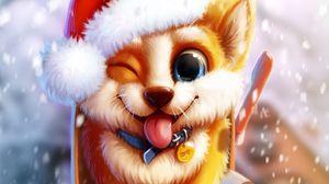 Превью обои собака, милый, почтовый ящик, снег, арт