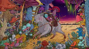 Превью обои собака, наездник, грибы, воин, разноцветный, арт