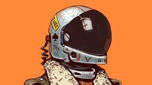Превью обои солдат, шлем, арт, digital art, sci-fi