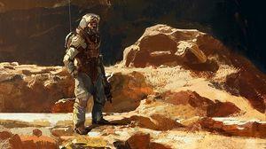 Превью обои солдат, воин, броня, экипировка, арт
