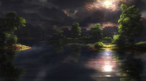 Превью обои солнце, свет, мрак, темнота, тучи, лучи
