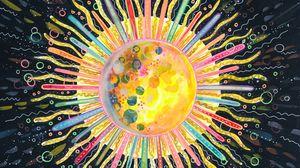 Превью обои солнце, арт, круг, линии, разноцветный, абстракция