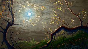 Превью обои солнце, облака, арт, ветки, деревья