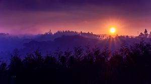 Превью обои солнце, закат, горы, небо, трава