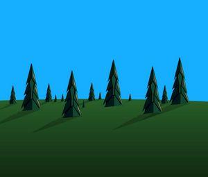 Превью обои сосны, деревья, вектор, арт