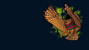 Превью обои сова, птица, фредди крюгер, минимализм, freddy krueger